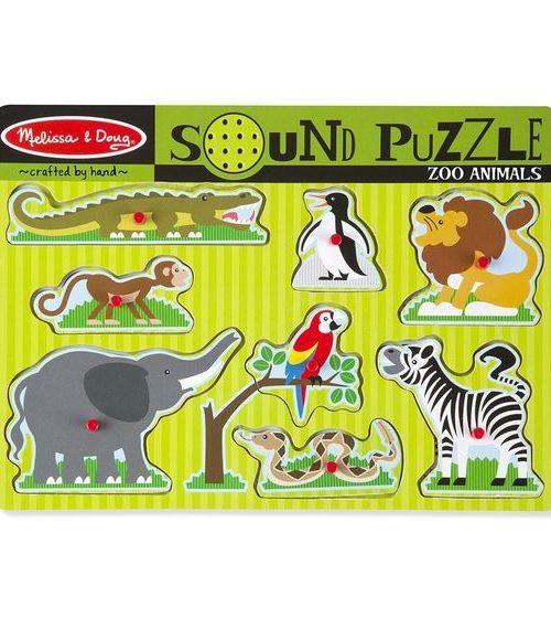Melissa & Doug Ahşap Sesli Yapboz - Hayvanat Bahçesi