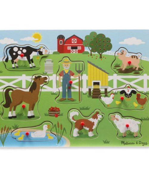 Melissa & Doug Ahşap Sesli Yapboz - Old MacDonal's Farm
