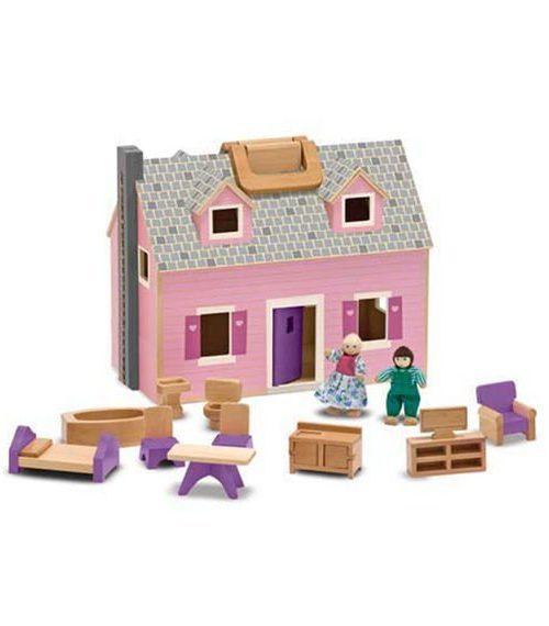 Melissa & Doug Ahşap Taşınabilir Küçük Mobilyalı Ev