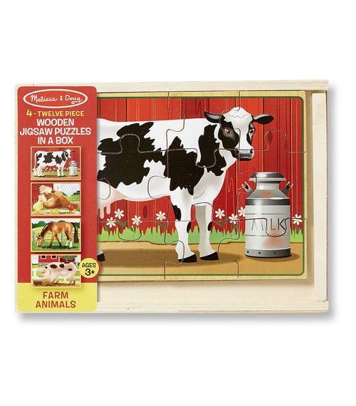 Melissa & Doug Ahşap 12x4 Yapboz Seti - Çiftlik Hayvanları
