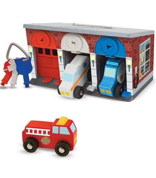 Melissa & Doug Ahşap Kilitli Kurtarma Araçları Garajı