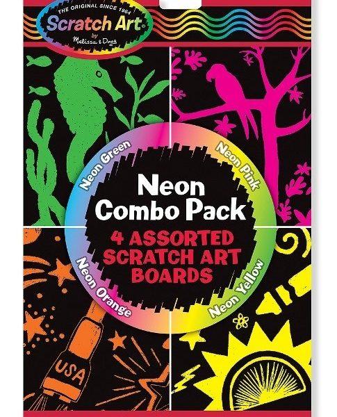 Melissa & Doug Kazıma Sanatı - Renkleri Ortaya Çıkar - Neon Kombo Paket