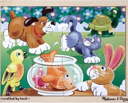 Ahşap 12 Parça Yapboz - Evcil Hayvanlar
