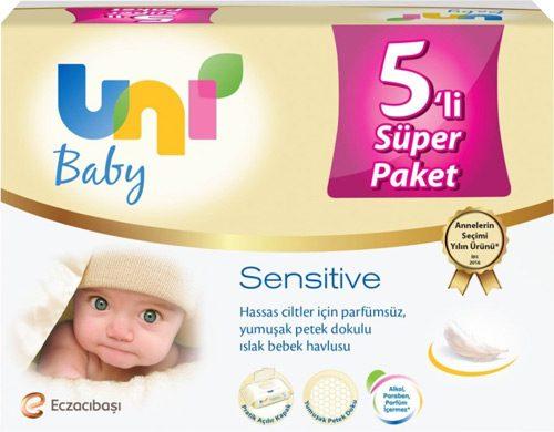 Uni Baby Sensitive 56 Yaprak 5'li Paket Islak Mendil
