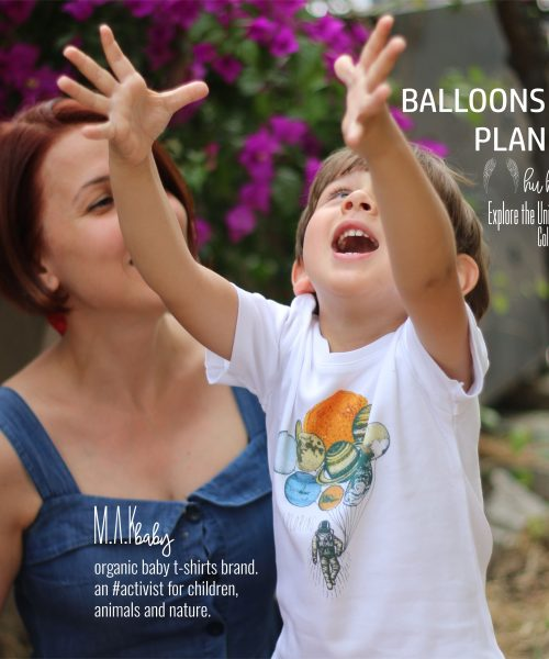 M.A.Kbaby Explore The Universe 'BALLOONS of PLANET' Organik Unisex Çocuk T-shirt'ü
