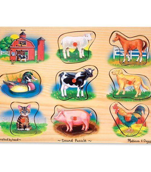 Melissa & Doug Ahşap Sesli Yapboz - Çiftlik Hayvanları